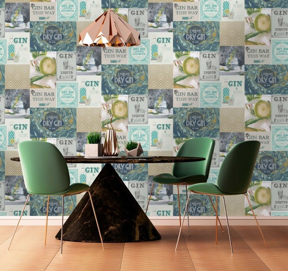 Crown Gin & Fizz Gin O'Clock Teal/Gold M1455 Wallpaper
